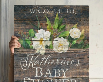 Rustic Baby Shower Sign Rustic Baby Shower Welcome Sign Rustic Baby Shower Decorations Printed Welcome Baby Shower Sign Boho Flower Foam