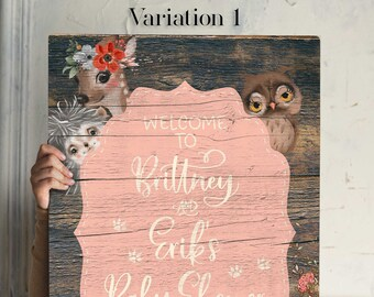 Girl Woodland Baby Shower Sign Pink Floral Forest Animals Rustic Woodland Baby Shower  Nursery Decor Forest Friends Baby Shower Decorations