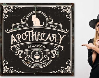 Halloween Apothecary Sign Witches Apothecary Sign Industrial Halloween Sign Happy Halloween Large Wall Art Canvas Print Black Cat Salem Sign