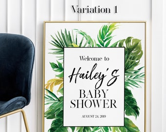 Baby Shower Welcome Sign Printable Personalized Botanical Welcome Board Foliage Greenery 24x36 Template Digital Download Signage Girl 0142