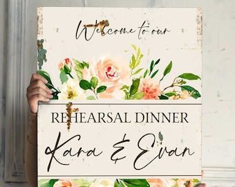 Rustic Rehearsal Dinner Welcome Sign Rehearsal Welcome Sign Rustic Burgundy Flowers Welcome Sign Wedding Shower Rustically Inspired Sign