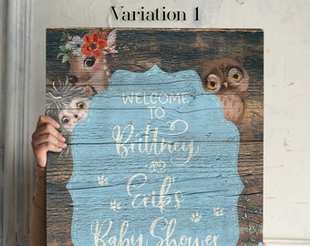 Boy Woodland Baby Shower Sign Forest Friends Blue Floral Forest Animals Baby Shower Rustic Woodland Baby Shower Nursery Decor Ornament