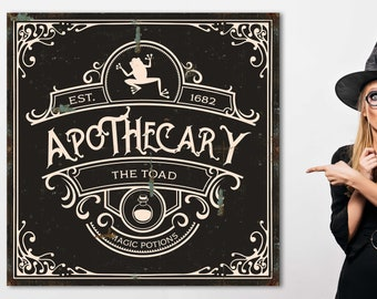 Halloween Apothecary Sign Witches Apothecary Sign Industrial Halloween Sign Happy Halloween Large Wall Art Canvas Print Salem Apothecary