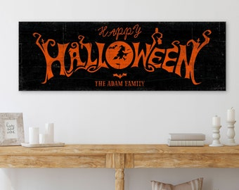 Halloween Sign Happy Name Established Sign Modern Farmhouse Decor Decor Creepy Rustic Fall Medieval Spooky Vintage Wooden Canvas Print