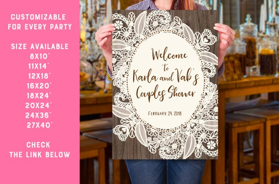 Wedding Welcome Sign Printable 27x40 Personalized Rustic And Lace
