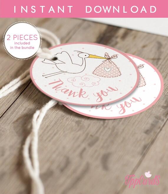 Pink Stork Baby Shower Favor Tag Printable Favor Tags Stork Baby