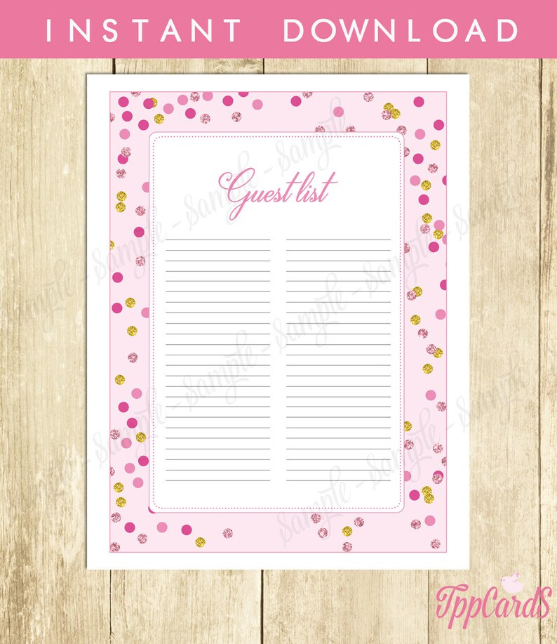 Pink And Gold Baby Shower Guest List Glitter Baby Shower Etsy