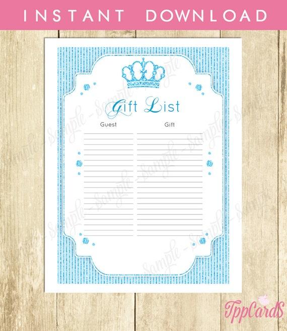 Royal Prince Baby Shower Gift List Glitter Baby Shower List Baby
