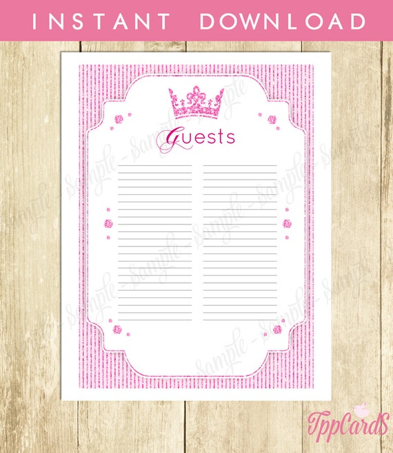 Royal Princess Baby Shower Guest List Glitter Baby Shower Etsy
