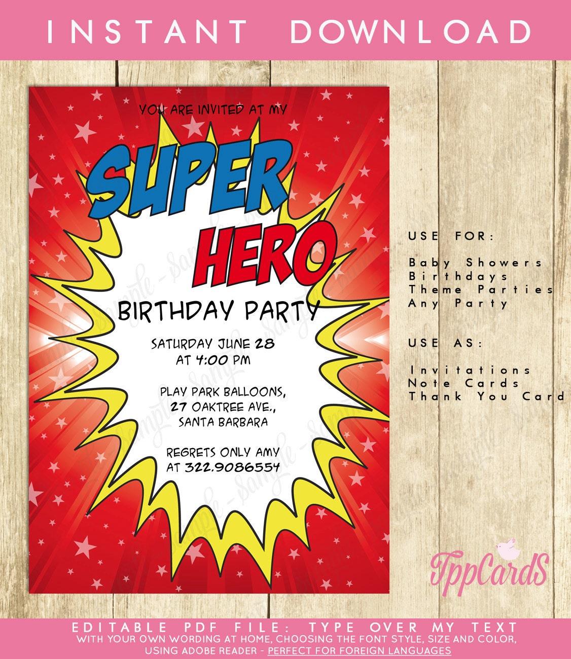 Red Superhero First Birthday Party Invitations Superhero   Etsy