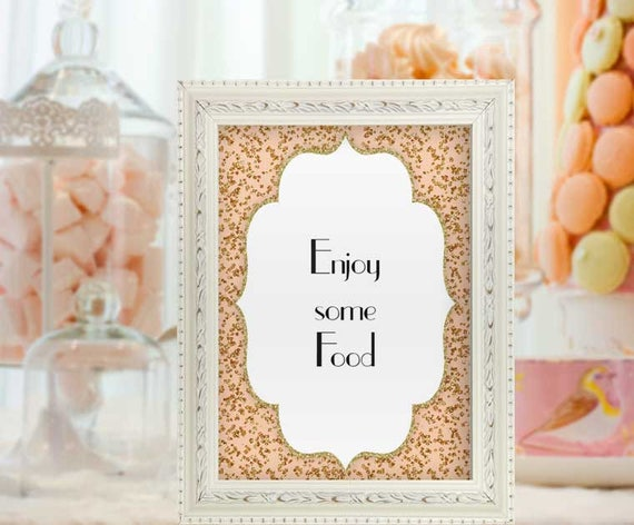 Baby Shower Food Sign Pink And Gold Enjoy Some Food Confetti Baby