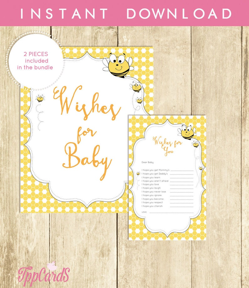 Bamble Bee Wishes For Baby Shower Activity Printable Well Wishes For Baby Cards And Sign Instant Download Yellow Bumble Bee Baby 0015