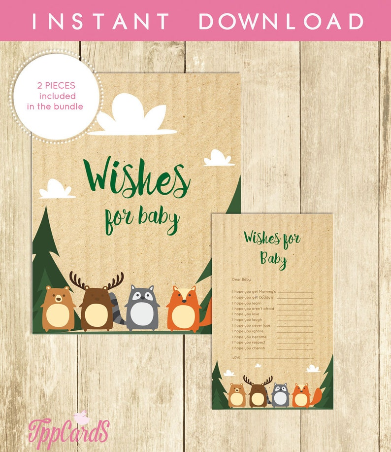 Wishes For Baby Shower Woodland Activity Well Wishes For Baby Cards And Sign Printable Instant Download Digital File Gender Neutral 0035