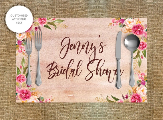 Printable placemats wedding