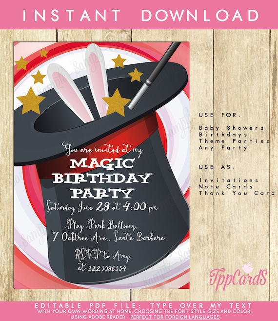 magic first birthday party invitations magical birthday party etsy