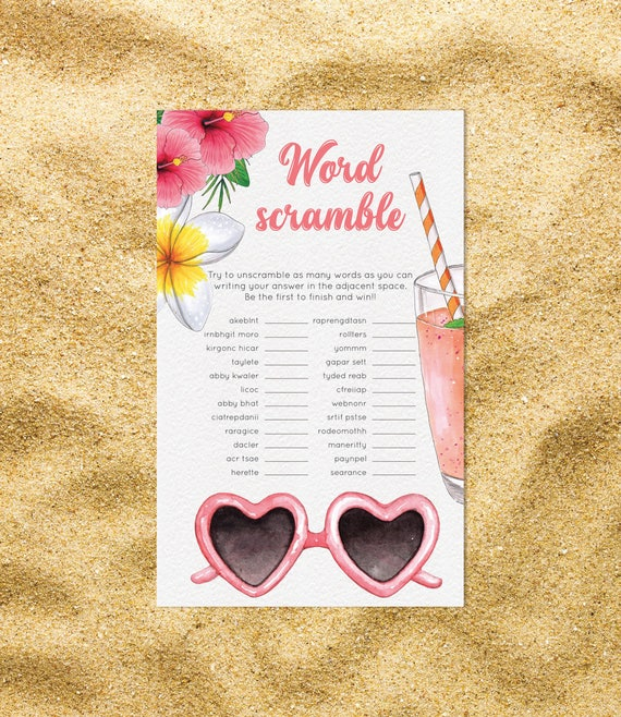 Baby Shower Word Scramble Game Aloha, Girl Boy DIY Pineapple
