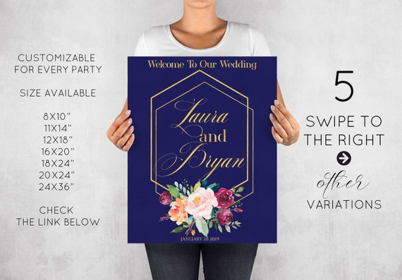 Birthday Welcome Sign 8x10 Personalized Floral Large Welcome Board