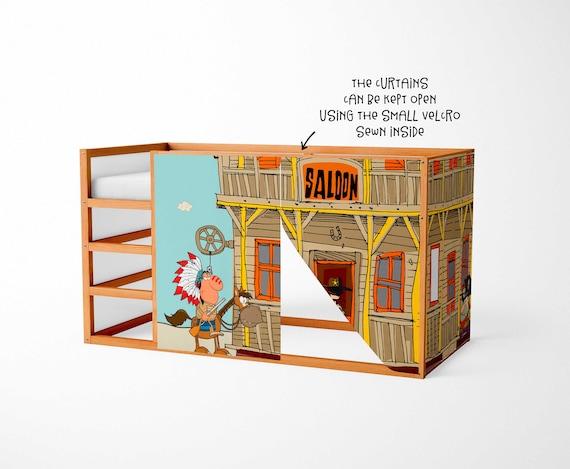 Ikea Etagenbett Zubehör : Spielhaus für ikea kura bett westlichen vorhänge etsy