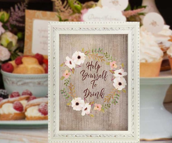 Baby Shower Food Sign Feathers Boho Decor Floral Baby Shower Food