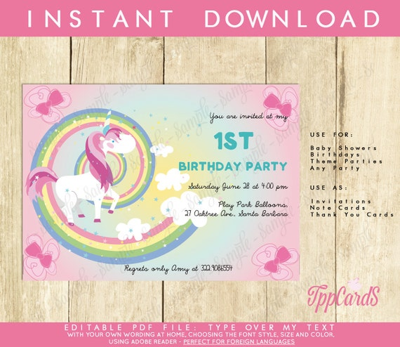 Unicorn First Birthday Party Invitations Unicorn Birthday Etsy