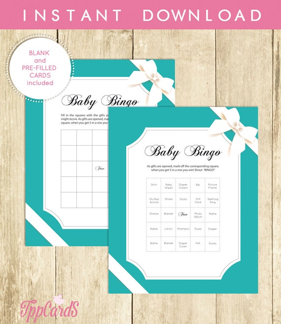 Baby And Co Shower Bingo Cards PreFilled Blank