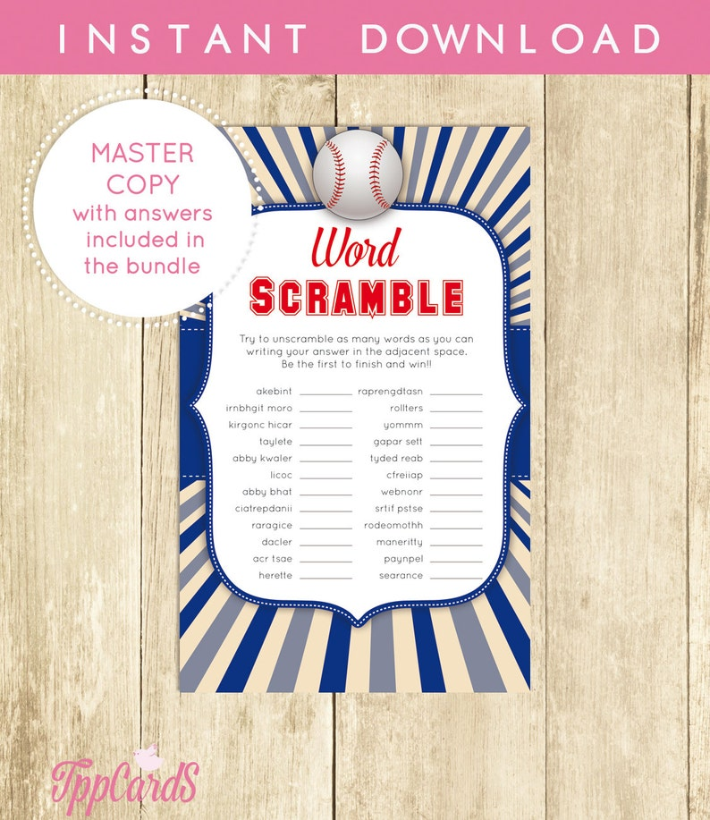 photograph relating to Printable Baby Shower Word Scramble titled Little one Shower Term Scramble Sport Baseball Printable Electronic History Immediate Down load Print at Household Common for Boy Things to do Game 0014-BG
