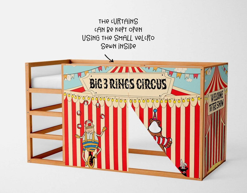 Loft Bed Custom Bed Tent Bunk Bed Accessories Circus Playhouse Curtains Playhouse For Ikea Kura Bed Mydal Bed Curtains Bunk Bed House Kids Furniture Home Living Vadel Com