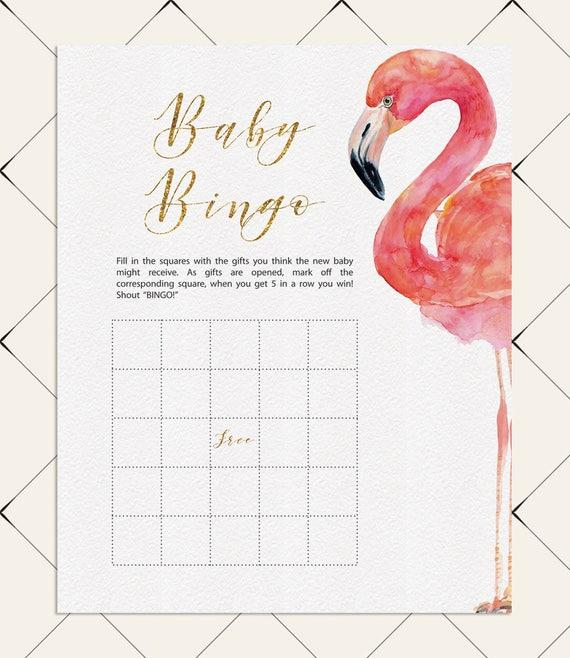 Flamingo Baby Shower Games Blank Bingo Cards Girl Boy, DIY