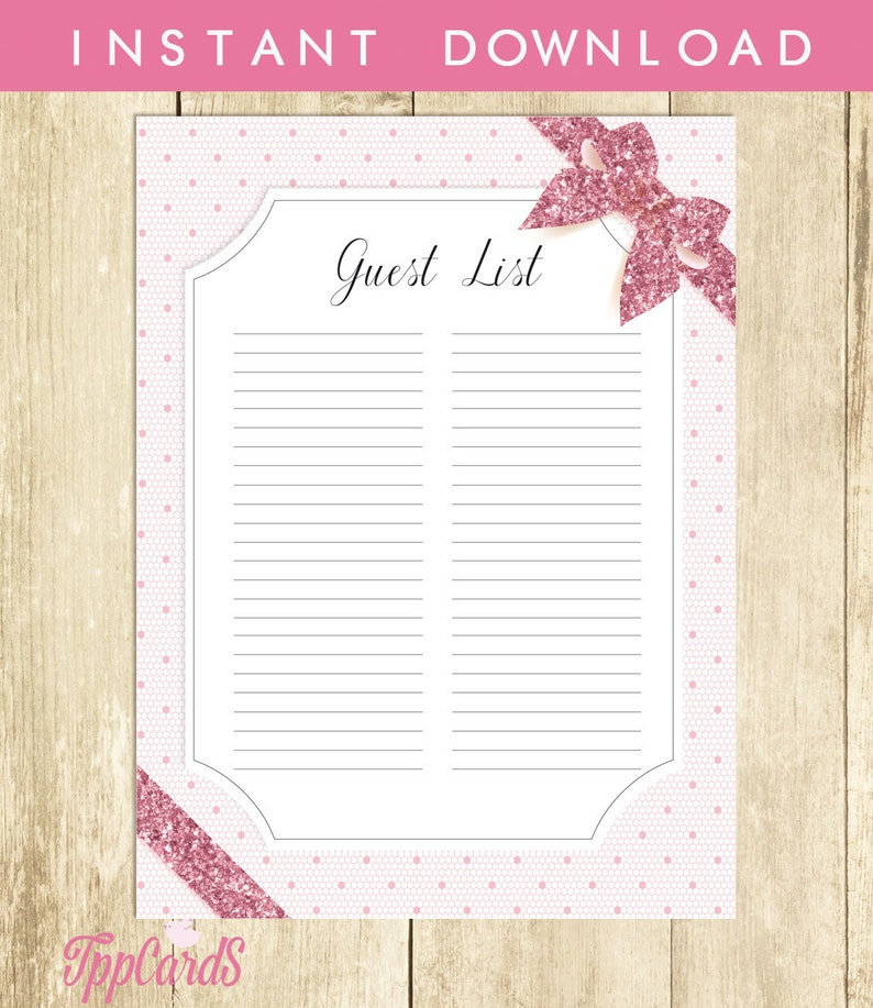 Pink Lace Baby Shower Guest List Lace Baby Shower List Baby Etsy
