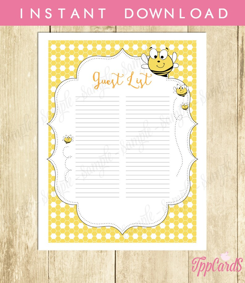 Bumble Bee Baby Shower Guest List Bumblebee Baby Shower List Etsy
