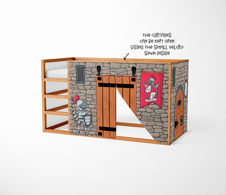 Casetta per Ikea Kura letto cavaliere Playhouse tende ...