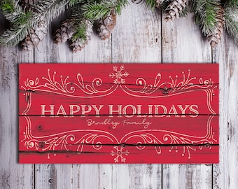 Happy Holidays Sign Christmas Saying Sign Personalized Rustic Christmas Decor for the Home Christmas Canvas Rustic Happy Holidays Sign