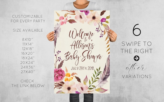 Baby Shower Welcome Sign Printable Personalized Floral Welcome Board