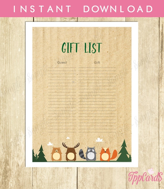 81ad01c2b5f73 Woodland Baby Shower Gift List, Woodland Baby Shower List, Baby ...