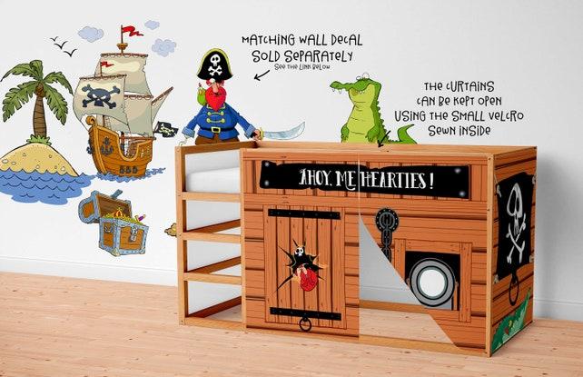 Etagenbett Zubehör : Spielhaus für ikea kura bett piraten vorhänge etsy