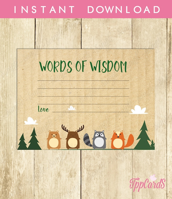 advice for mommy to be cards woodland baby shower printable etsy