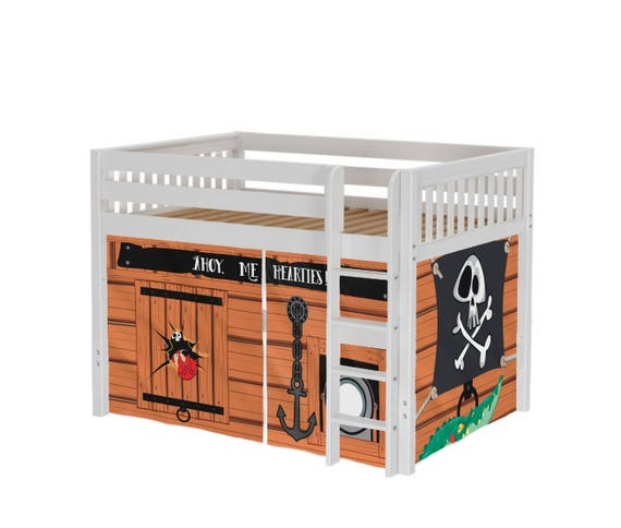 Playhouse Maxtrix Mid Loft Bed Full Pirates Playhouse Curtains