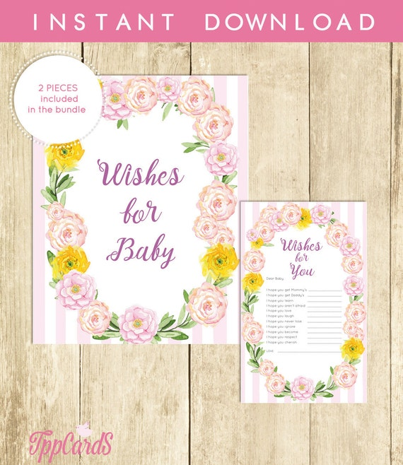 Floral Wishes For Baby Shower Activity Printable Well Wishes For Baby Cards And Sign Instant Download Shabby Et Chic Baby Shower 0003 P