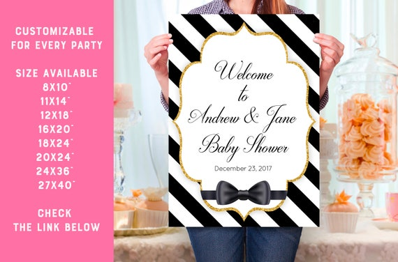 Wedding Welcome Sign Printable 27x40 Personalized Black White