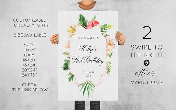 Baby Shower Welcome Sign 20x24 Printable Personalized Tropical
