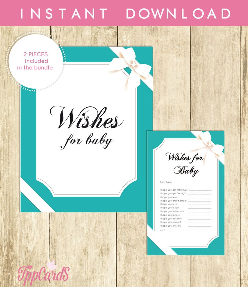Wishes For Baby Shower Baby And Co Activity Well Wishes For Baby Cards Sign Printable Instant Download Digital File Gender Neutral 0031