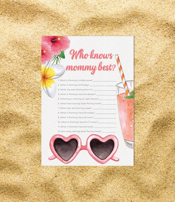 Who Know Mommy Best Baby Shower Aloha Games Gender Neutral