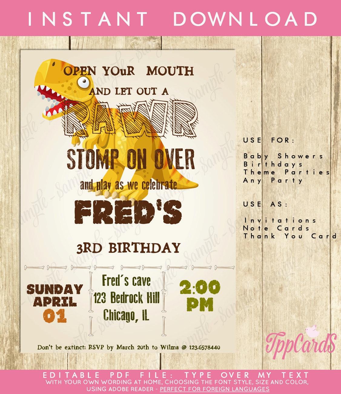 Dinosaur First Birthday Party Invitations Dinosaur Birthday | Etsy