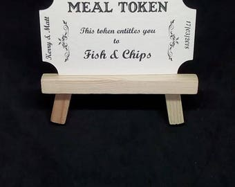 50 meal tokens wedding occasion favour tags