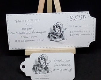 Alice in Wonderland tea party invitations and thank you tag set (set of 10)