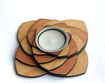 Tea light holder made from Oak and Mahogany - Wooden tealight holder - Wedding centerpieces - Wedding candle - Wooden tealight candle holder