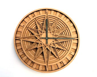 Wooden Clock, Round Wall Clock, Kitchen Clock, Modern Wall Clock, Patterned Clock, Unique Clock, Office Clock, Gift for him, New Home
