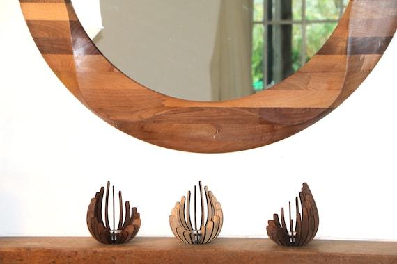 Runde Spiegel Große Dekorative Runde Hölzerne Wand Spiegel Holz Spiegelwand Kreisförmige Wand Hängen Spiegel Gemacht Aus Massivem Nussbaumholz
