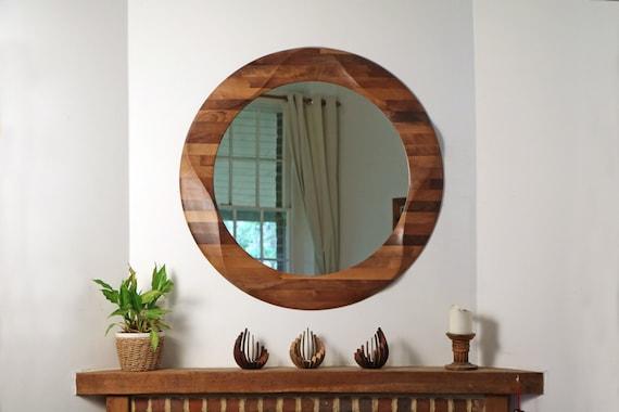 Ronde Houten Spiegel : Ronde spiegel grote decoratieve ronde houten wand spiegel etsy