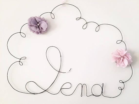 pr nom en fil de fer nuage avec fleur vieux rose et grise etsy. Black Bedroom Furniture Sets. Home Design Ideas